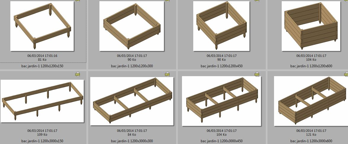 Potager en carr tuteurs en robinier carr s point s for Plan de construction table de jardin en bois